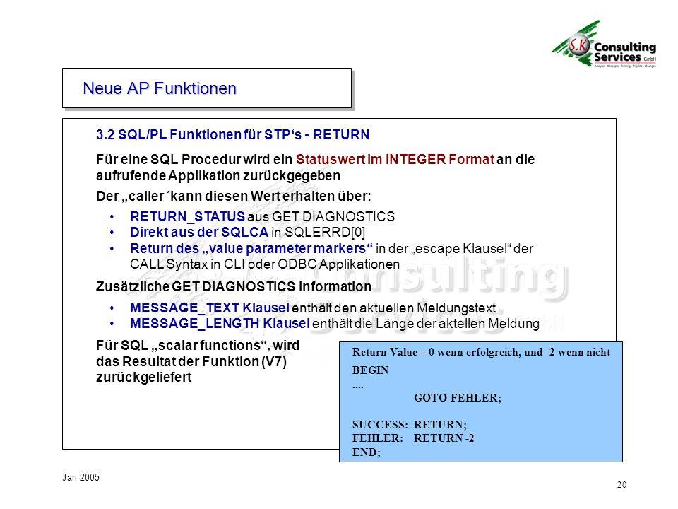 Neue AP Funktionen 3.2 SQL/PL Funktionen für STP's - RETURN