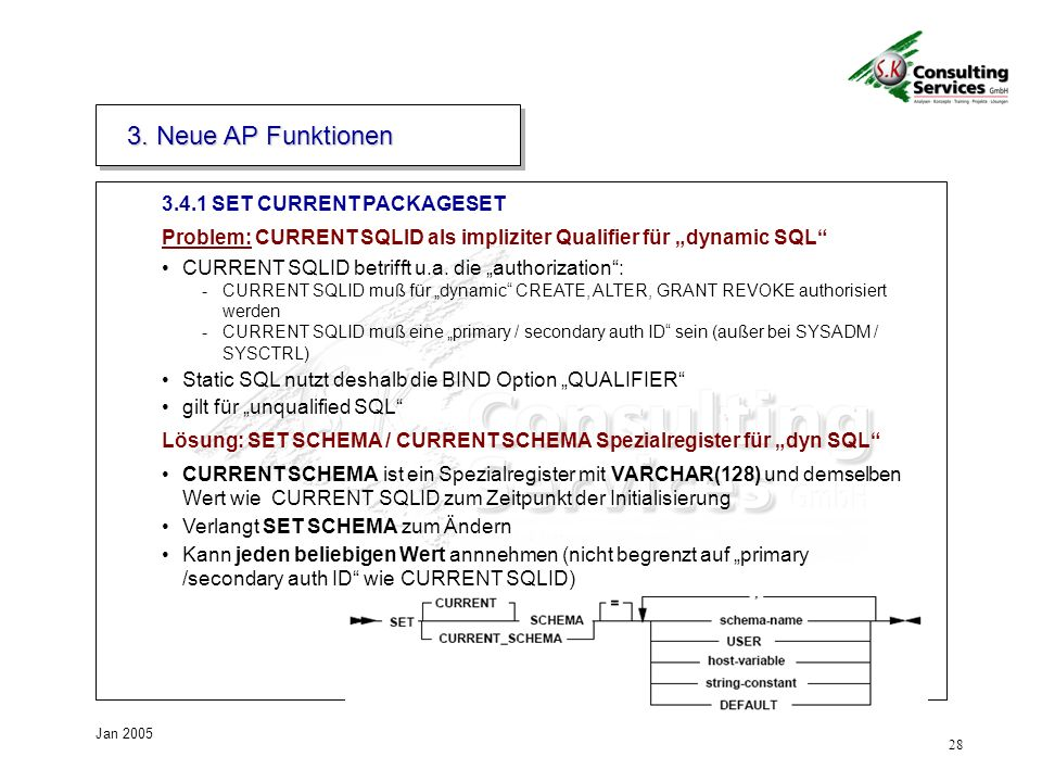 3. Neue AP Funktionen SET CURRENT PACKAGESET