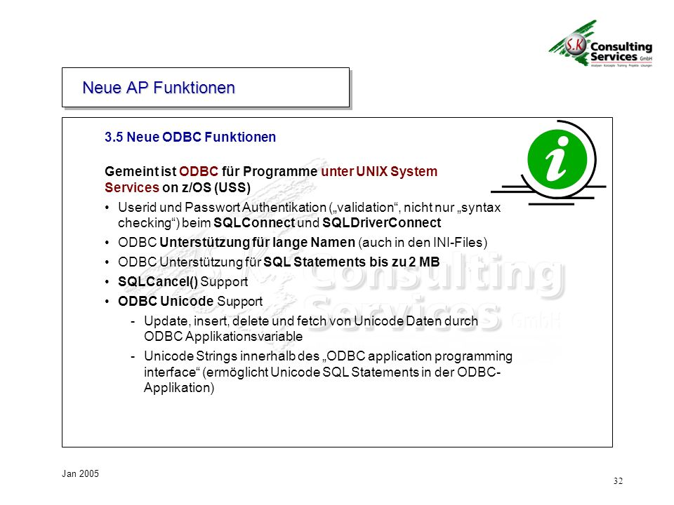 Neue AP Funktionen 3.5 Neue ODBC Funktionen
