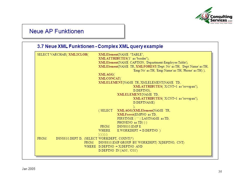 Neue AP Funktionen 3.7 Neue XML Funktionen - Complex XML query example