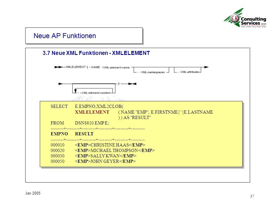 Neue AP Funktionen 3.7 Neue XML Funktionen - XMLELEMENT