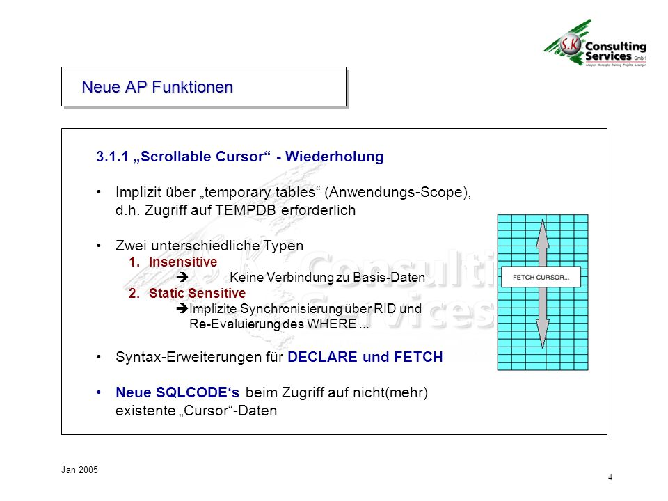 "Neue AP Funktionen 3.1.1 ""Scrollable Cursor - Wiederholung"