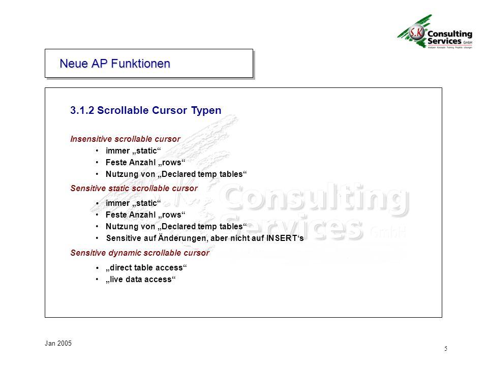 Neue AP Funktionen 3.1.2 Scrollable Cursor Typen