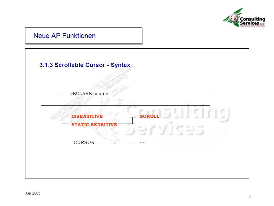 Neue AP Funktionen 3.1.3 Scrollable Cursor - Syntax DECLARE cname