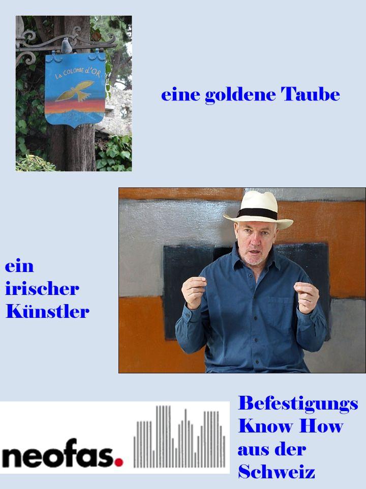 eine goldene Taube ein irischer Künstler Befestigungs Know How aus der Schweiz