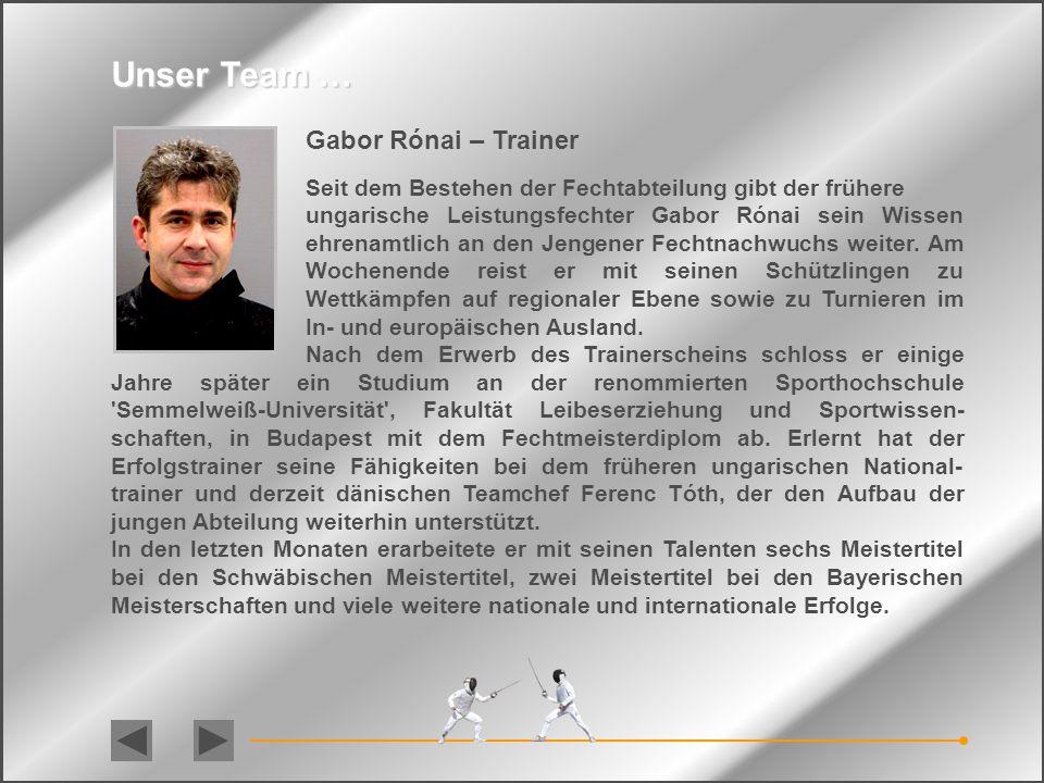 Unser Team … Gabor Rónai – Trainer
