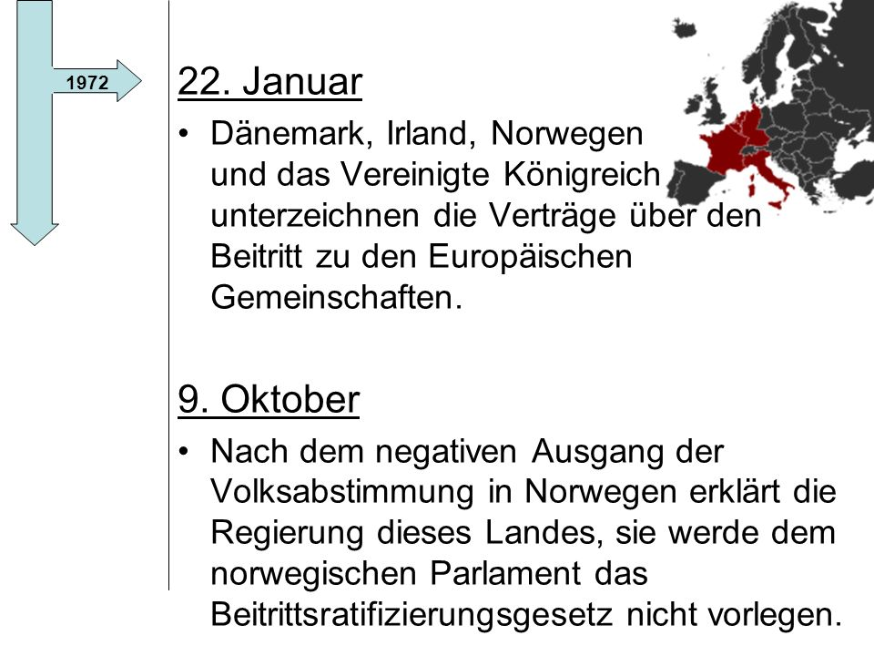 22. Januar Dänemark, Irland, Norwegen und das Vereinigte Königreich unterzeichnen die Verträge über den Beitritt zu den Europäischen Gemeinschaften.