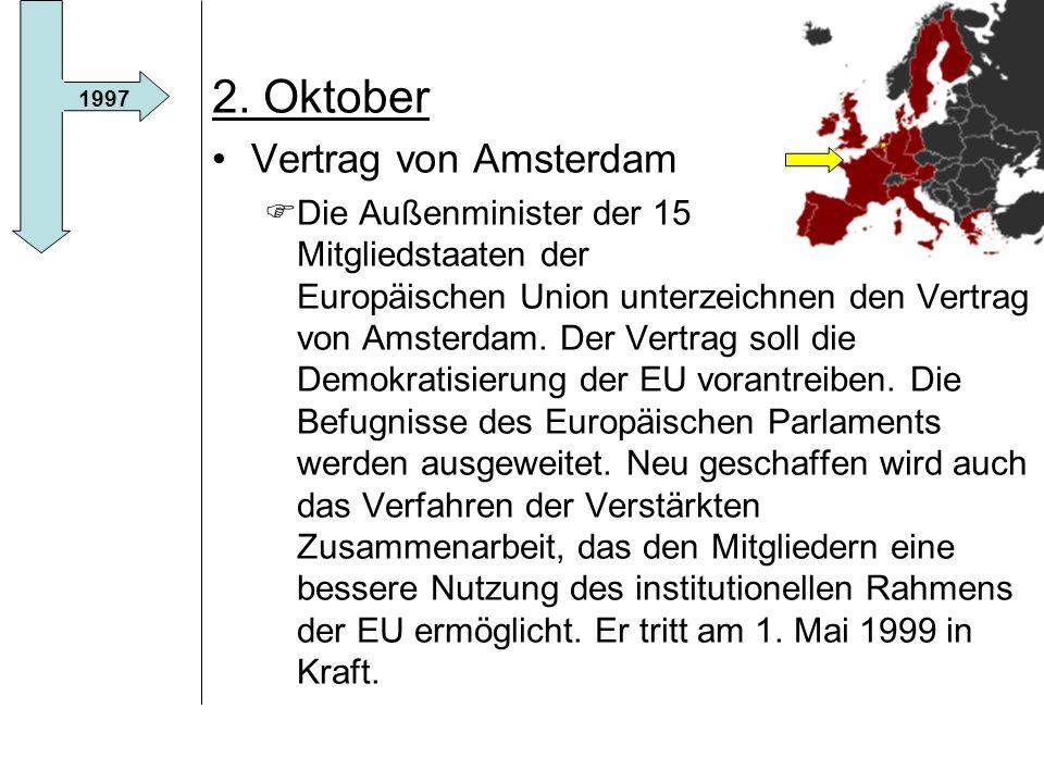 2. Oktober Vertrag von Amsterdam