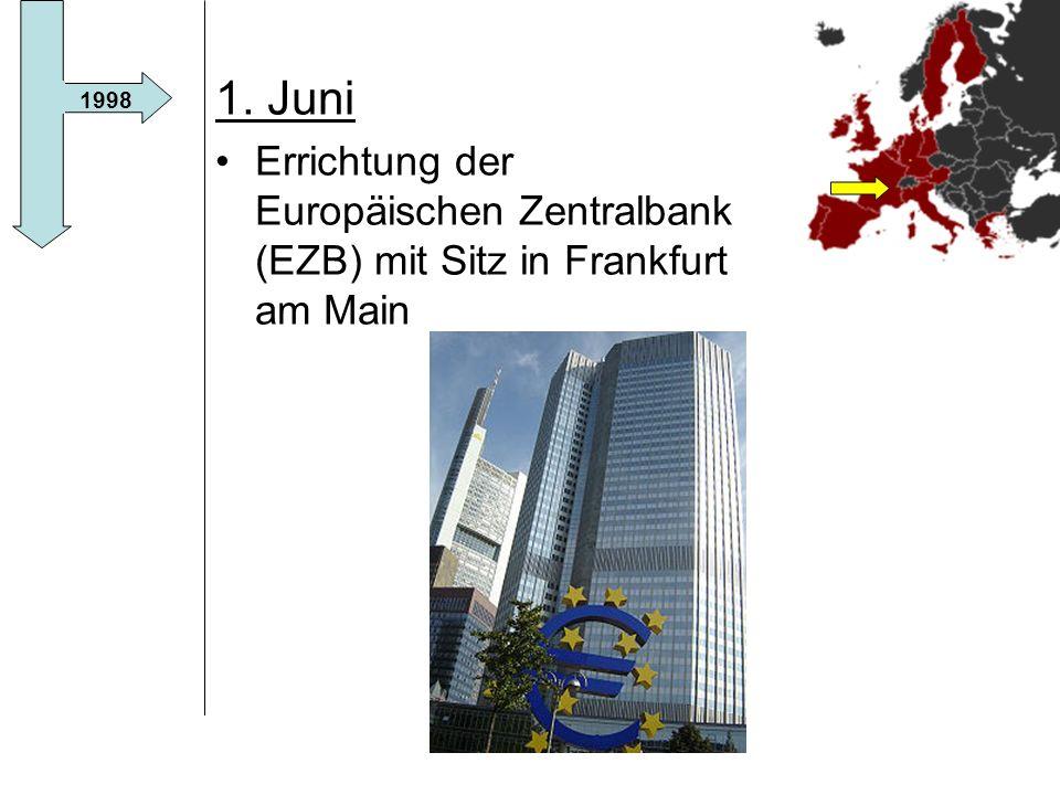 1. Juni Errichtung der Europäischen Zentralbank (EZB) mit Sitz in Frankfurt am Main 1998