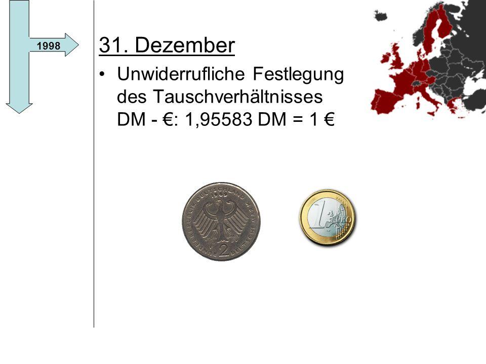 31. Dezember Unwiderrufliche Festlegung des Tauschverhältnisses DM - €: 1,95583 DM = 1 € 1998