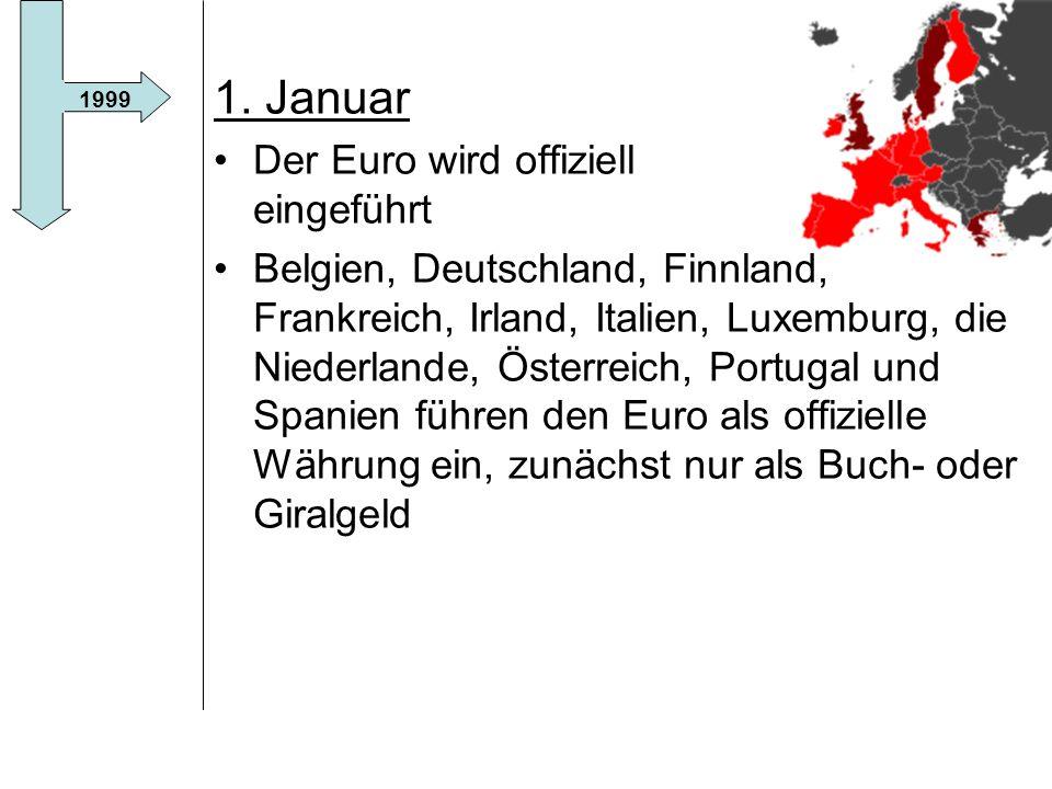 1. Januar Der Euro wird offiziell eingeführt