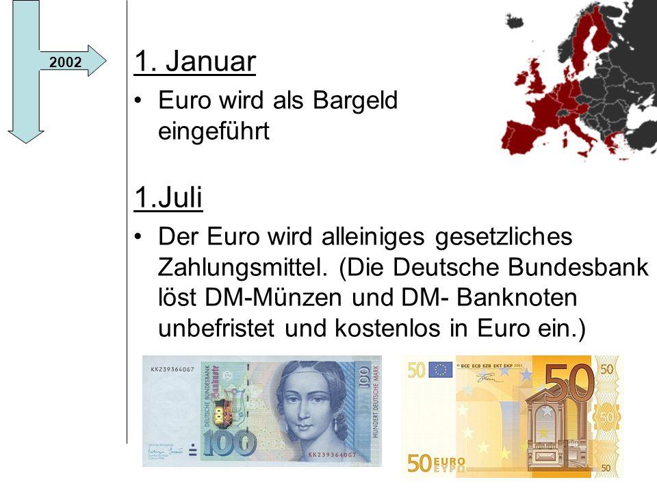 1. Januar 1.Juli Euro wird als Bargeld eingeführt