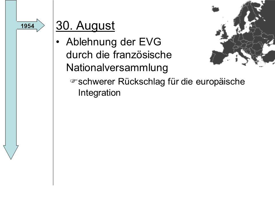 30. August Ablehnung der EVG durch die französische Nationalversammlung. schwerer Rückschlag für die europäische Integration.