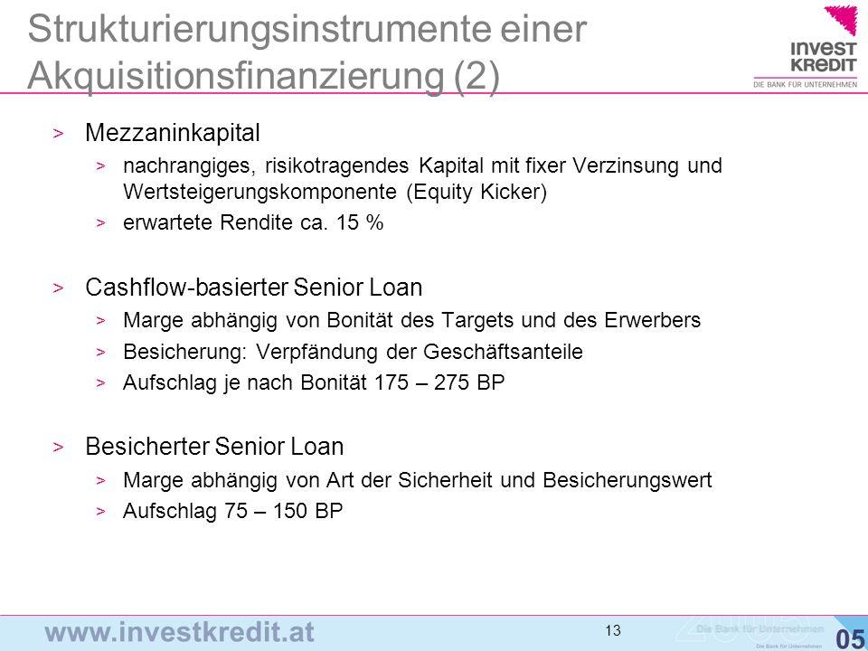 Strukturierungsinstrumente einer Akquisitionsfinanzierung (2)