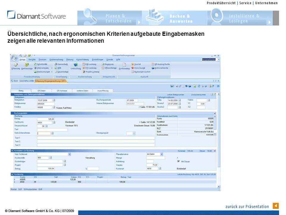 Übersichtliche, nach ergonomischen Kriterien aufgebaute Eingabemasken zeigen alle relevanten Informationen