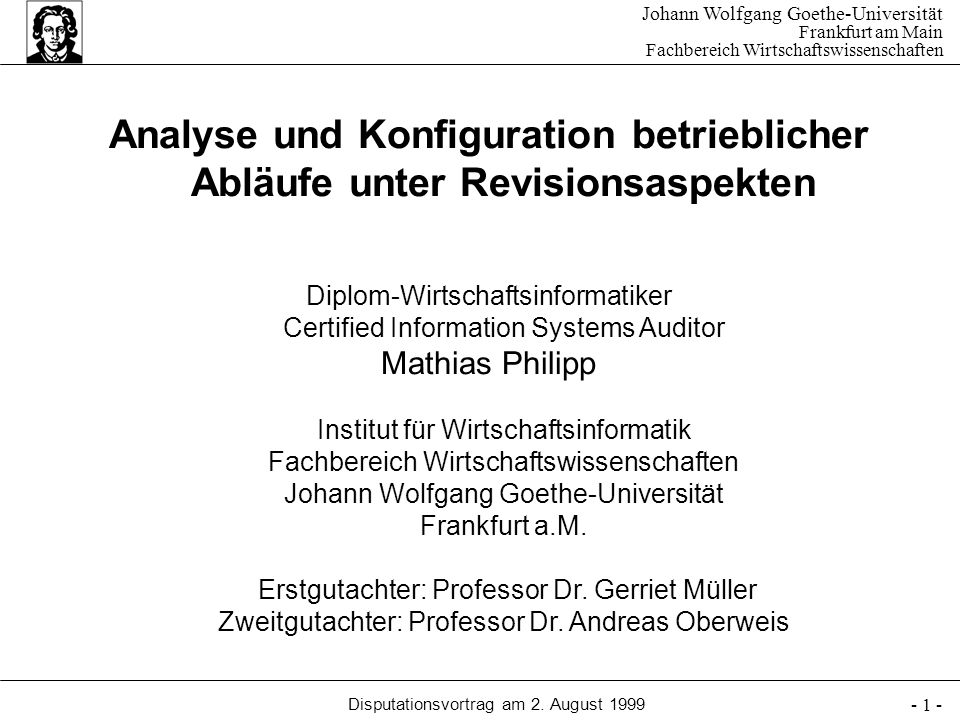 Diplom-Wirtschaftsinformatiker Certified Information Systems Auditor