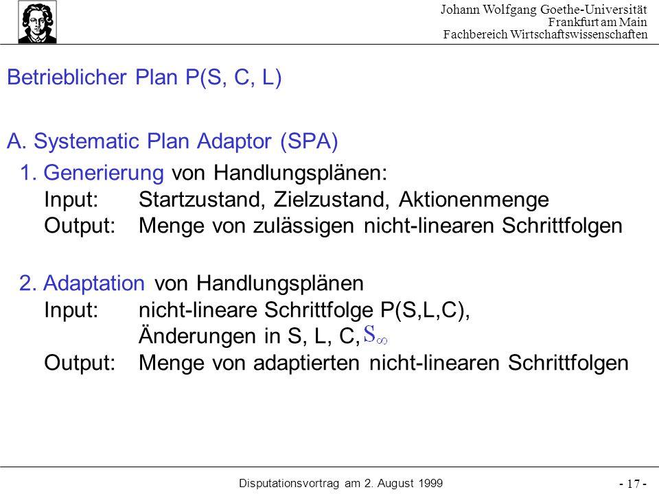 Betrieblicher Plan P(S, C, L)