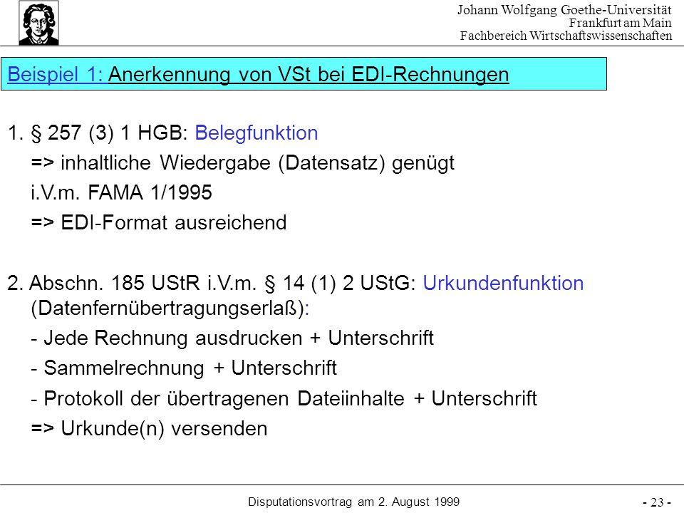 Beispiel 1: Anerkennung von VSt bei EDI-Rechnungen
