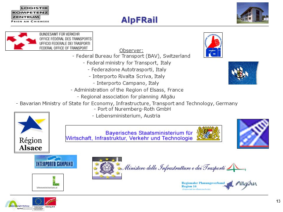 AlpFRail - Federal ministry for Transport, Italy
