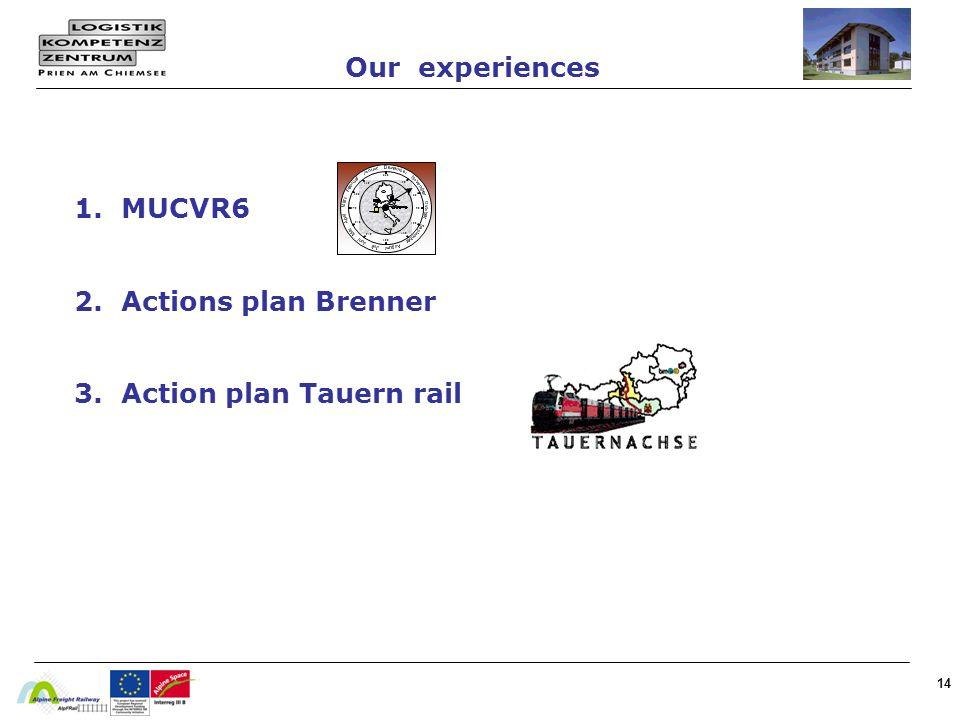 1. MUCVR6 2. Actions plan Brenner 3. Action plan Tauern rail