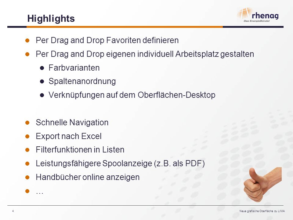 Highlights Per Drag and Drop Favoriten definieren