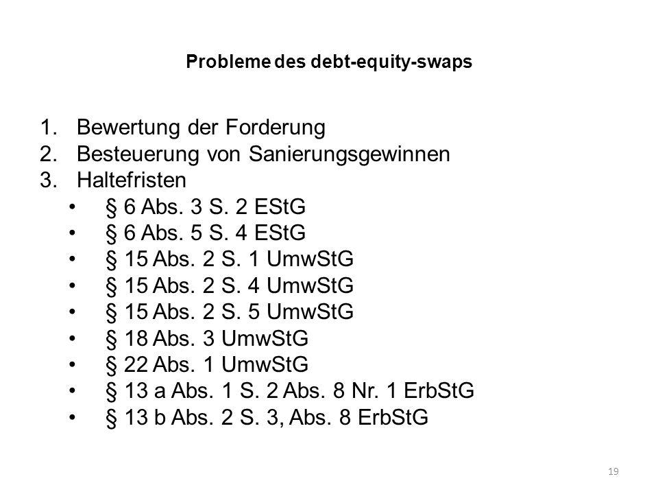 Probleme des debt-equity-swaps