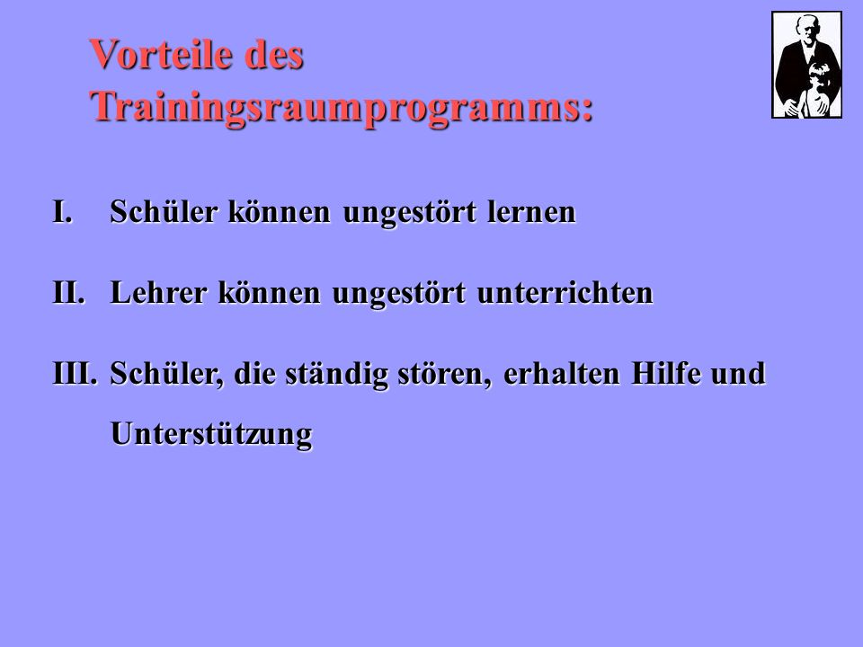 Vorteile des Trainingsraumprogramms: