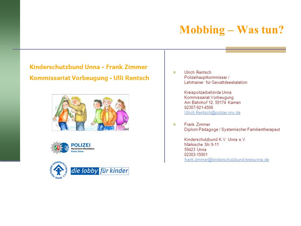Mobbing – Was tun Kinderschutzbund Unna - Frank Zimmer