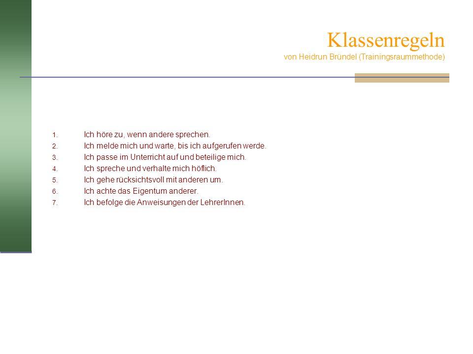 Klassenregeln von Heidrun Bründel (Trainingsraummethode)
