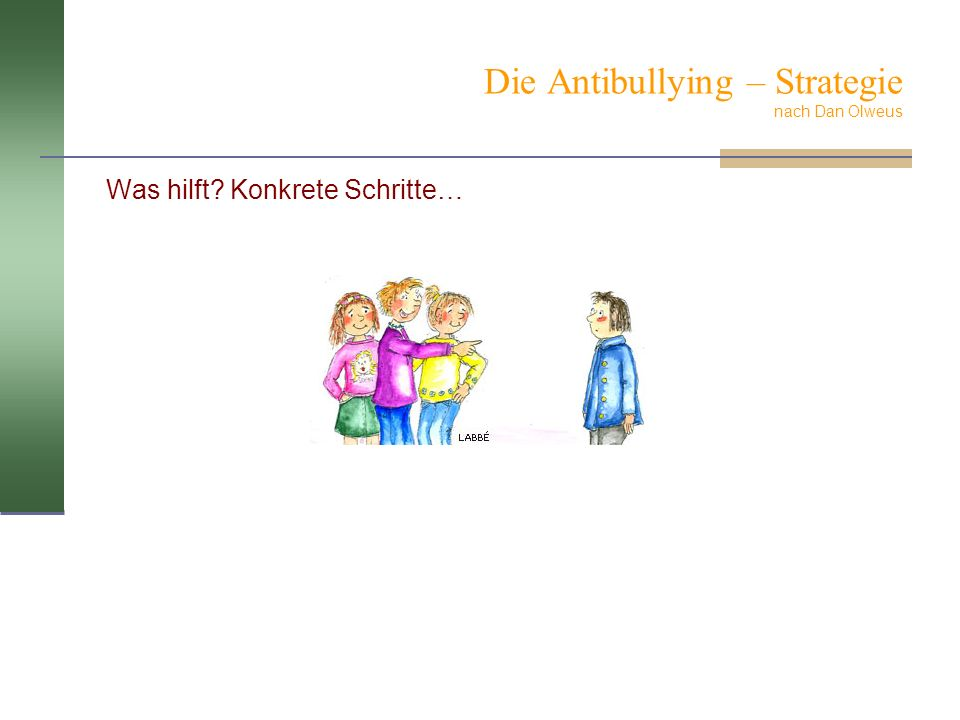 Die Antibullying – Strategie nach Dan Olweus