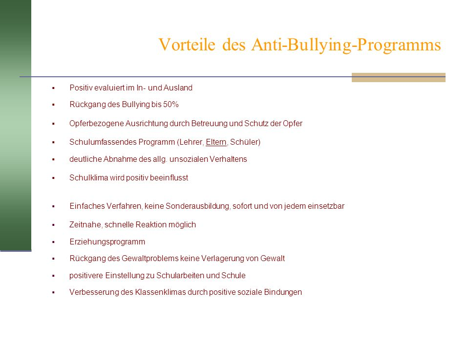 Vorteile des Anti-Bullying-Programms