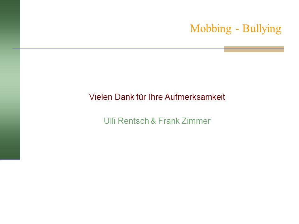 Mobbing - Bullying Vielen Dank für Ihre Aufmerksamkeit