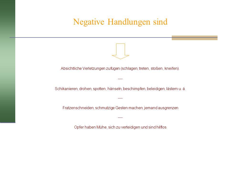 Negative Handlungen sind