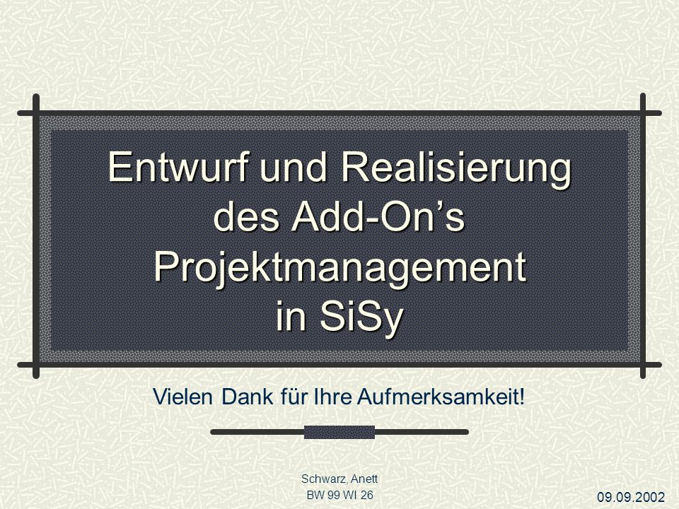 Entwurf und Realisierung des Add-On's Projektmanagement in SiSy