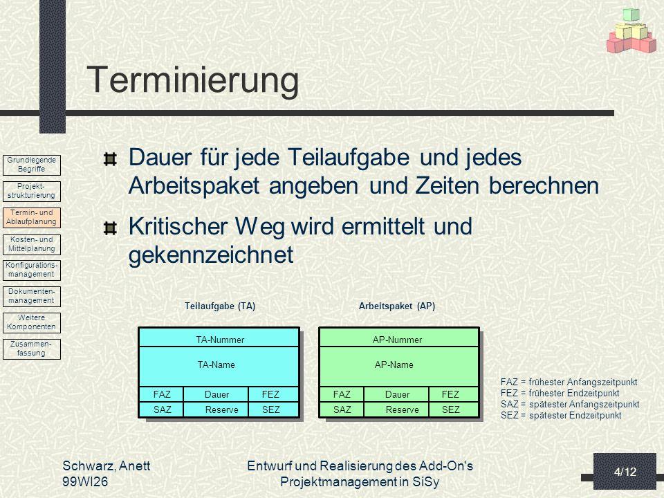 TerminierungDauer für jede Teilaufgabe und jedes Arbeitspaket angeben und Zeiten berechnen. Kritischer Weg wird ermittelt und gekennzeichnet.