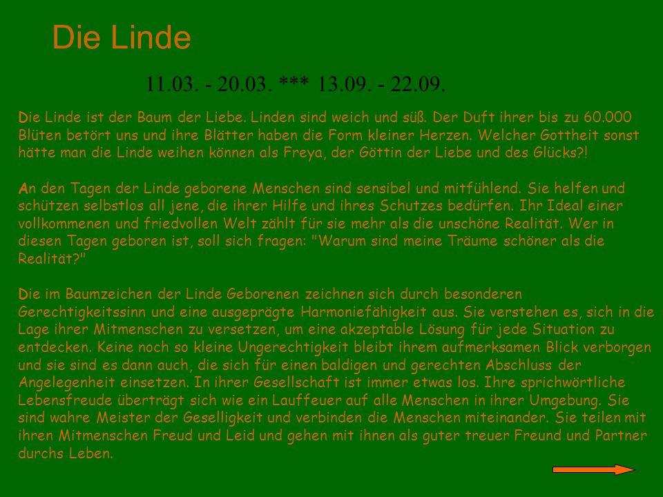 Die Linde 11.03. - 20.03. *** 13.09. - 22.09.