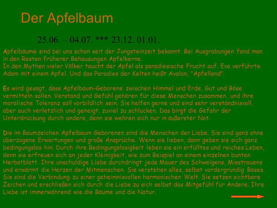 Der Apfelbaum 25.06. – 04.07. *** 23.12. 01.01.