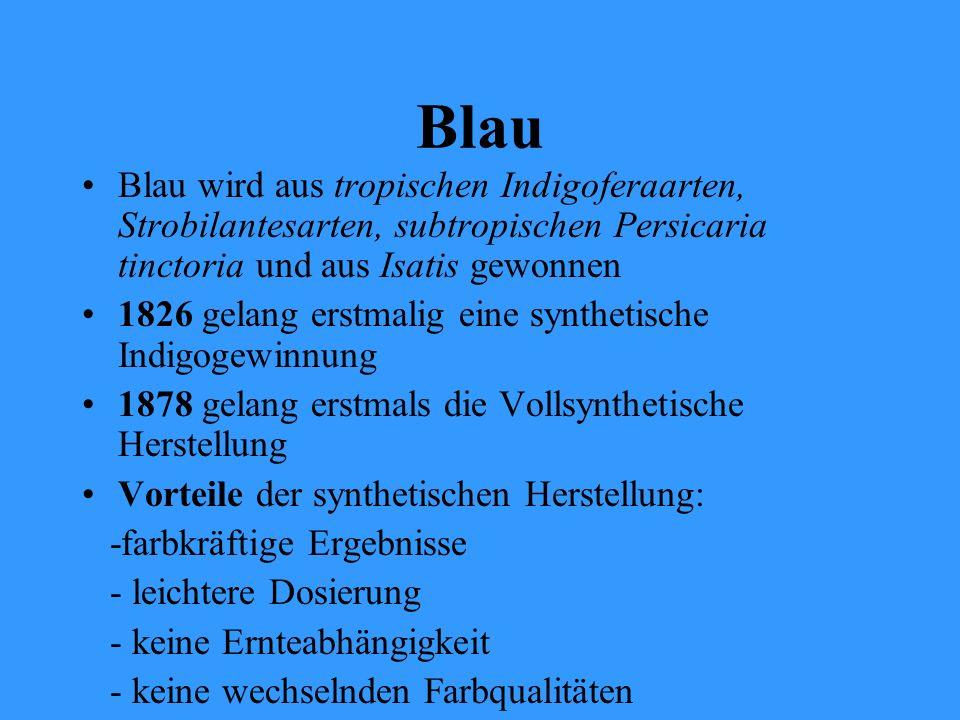Blau Blau wird aus tropischen Indigoferaarten, Strobilantesarten, subtropischen Persicaria tinctoria und aus Isatis gewonnen.