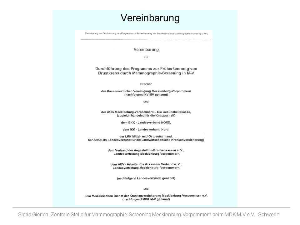 Vereinbarung Sigrid Gierich, Zentrale Stelle für Mammographie-Screening Mecklenburg-Vorpommern beim MDK M-V e.V., Schwerin.