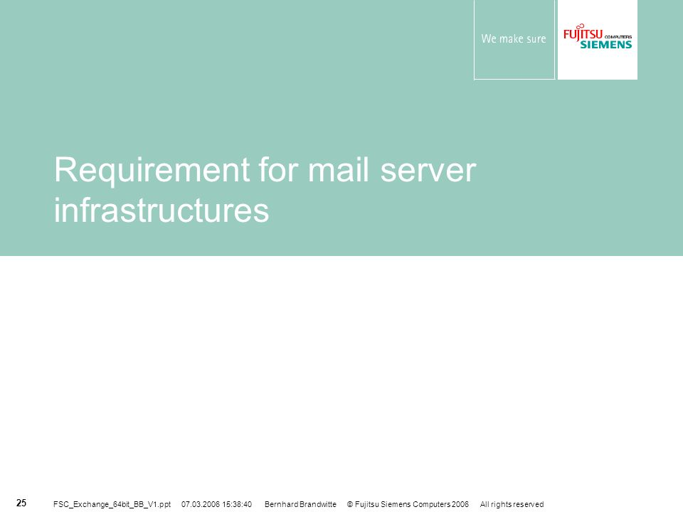 Requirement for mail server infrastructures