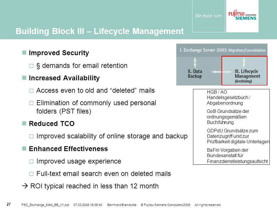 Building Block III – Lifecycle Management