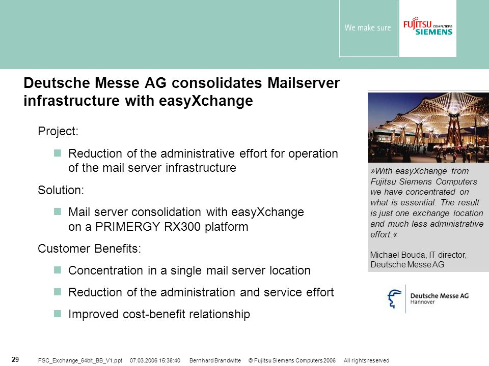 Deutsche Messe AG consolidates Mailserver infrastructure with easyXchange