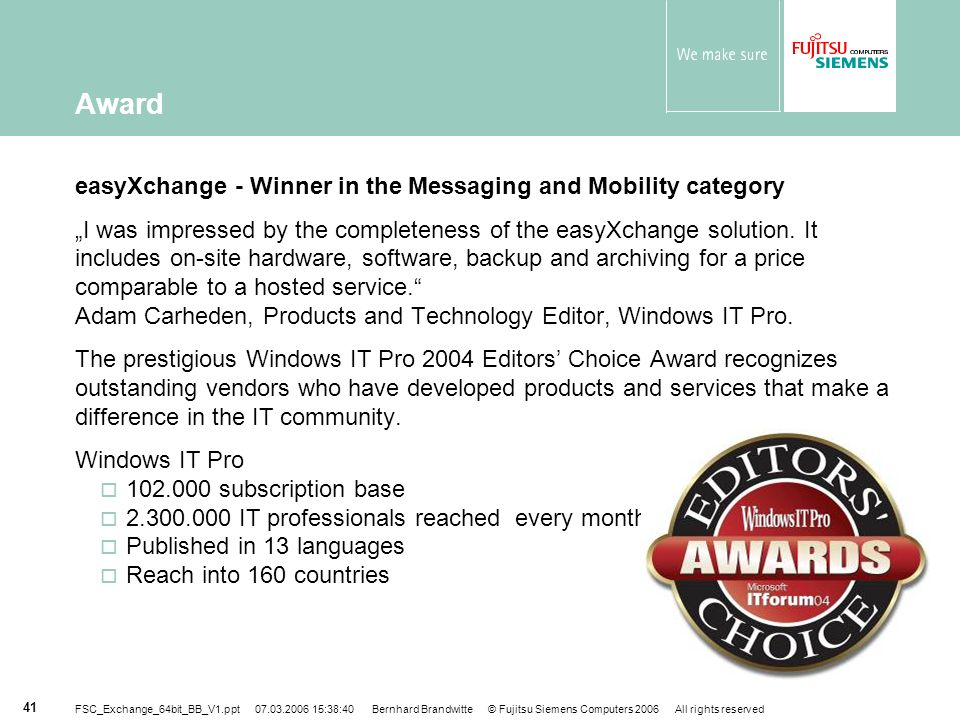 Award easyXchange - Winner in the Messaging and Mobility category