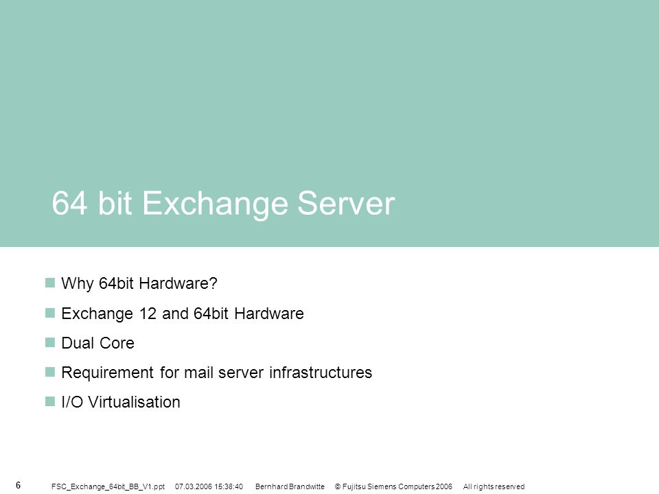 64 bit Exchange Server Why 64bit Hardware