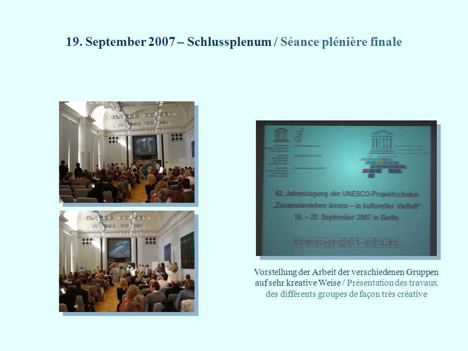 19. September 2007 – Schlussplenum / Séance plénière finale