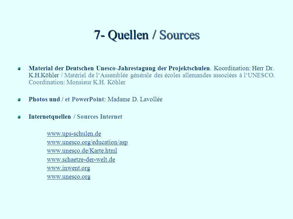 7- Quellen / Sources