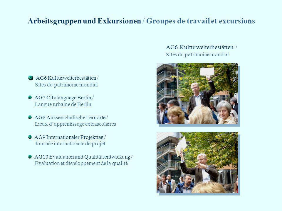 Arbeitsgruppen und Exkursionen / Groupes de travail et excursions