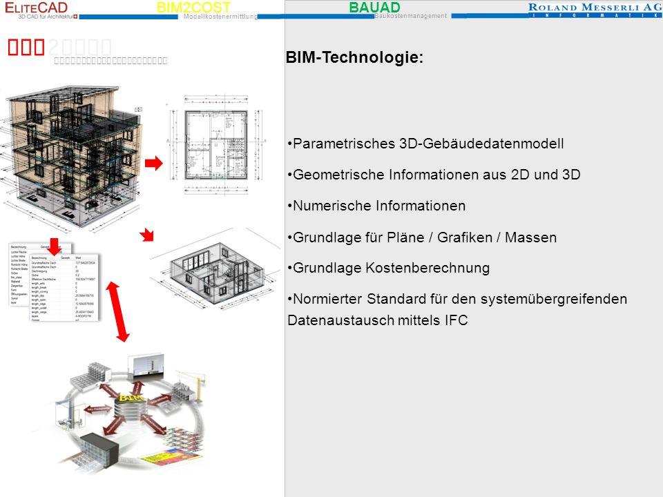 BIM2COST BIM-Technologie: Parametrisches 3D-Gebäudedatenmodell