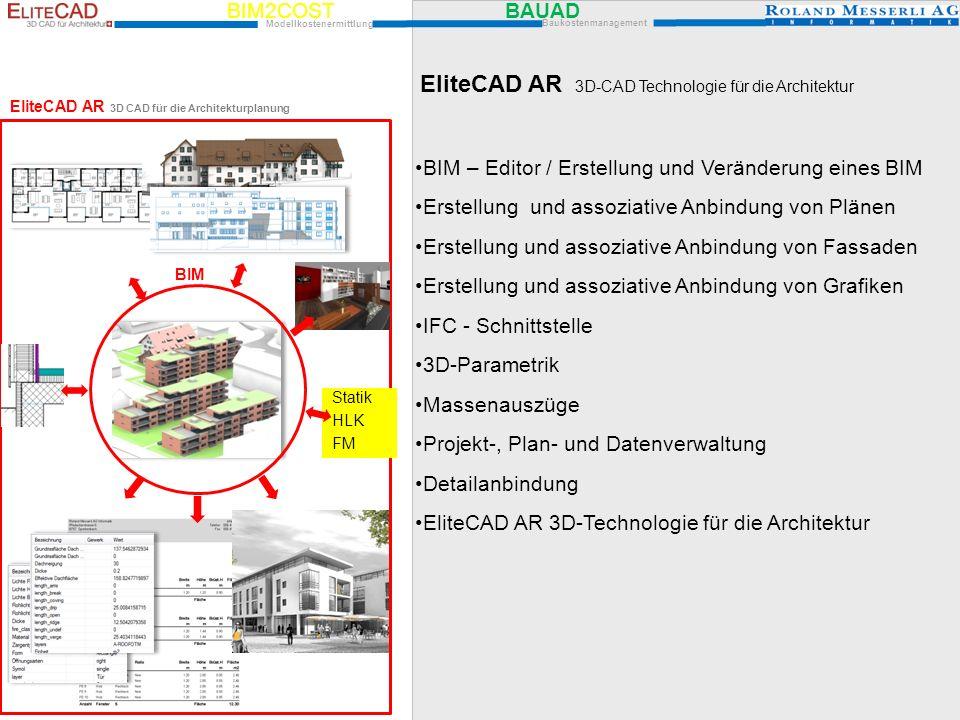 EliteCAD AR BIM – Editor / Erstellung und Veränderung eines BIM