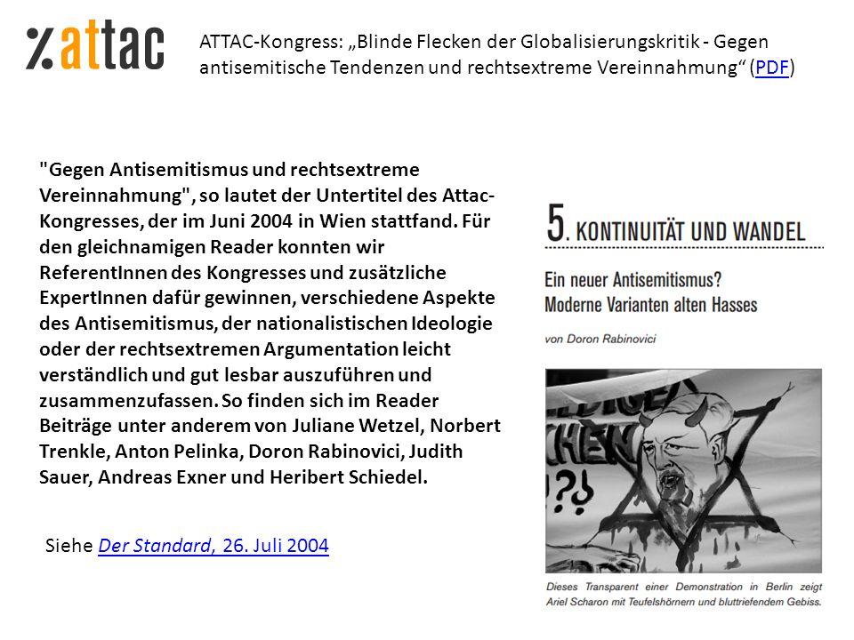 """ATTAC-Kongress: """"Blinde Flecken der Globalisierungskritik - Gegen antisemitische Tendenzen und rechtsextreme Vereinnahmung (PDF)"""